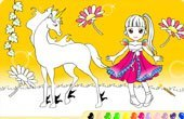 Princess With Her Unicorn Online Coloring Game
