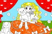 Princess With Her Bear Doll Coloring Game